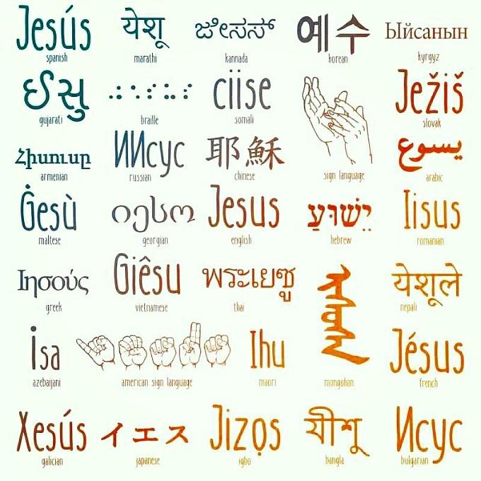 Имя Иисуса на разных языках мира